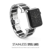 Lerxiuer Stainless Steel Strap For Apple watch band 42mm 38mm apple Series 3/2/1 Ceramic wrist band Link Bracelet belt watchband