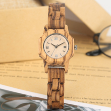 Colorful Natural Wood Quartz Maple Watch White Dial with Clear Roman Numerals Wristwatch for Women