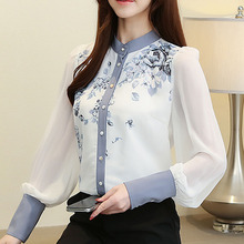Blusas mujer de moda 2019 ladies tops long sleeve chiffon blouse shirts for women printing button Stand Puff Sleeve 0249