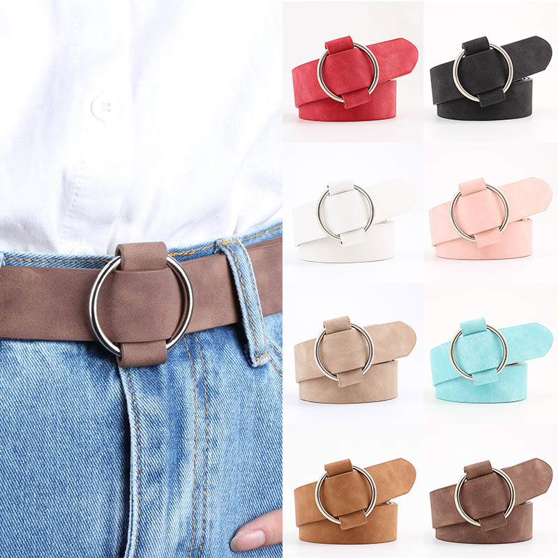 103CM Retro Fashion Metal Round Buckle Chamois Leather Solid Color Women Belt Wide Strap Belts  Jeans Dress Accessories