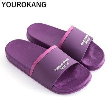 Summer Couple Home Slippers Unisex Classic Bathroom Flip Flops Women Badslippers Lovers Beach Sandals Non-slip Flat Shoes 2019
