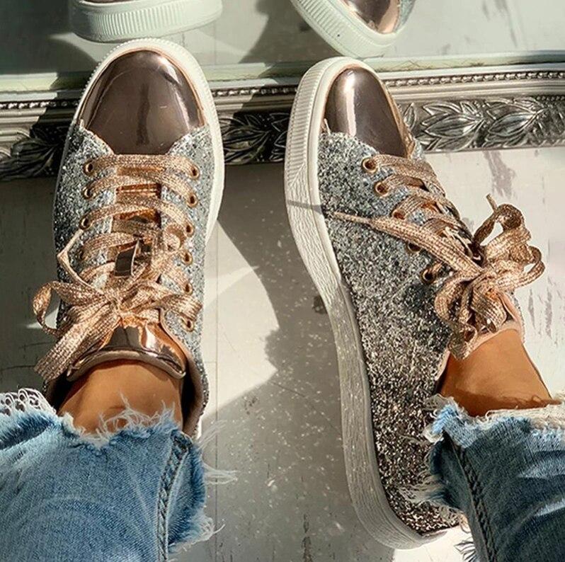 Женская Вулканизированная обувь; Кроссовки; Блестящая обувь для девочек; Повседневная Женская дышащая Спортивная обувь на шнуровке; Zapatos De Mujer Кроссовки и кеды      АлиЭкспресс