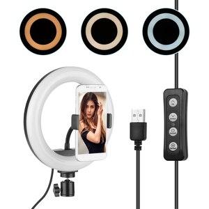 Image 1 - 8 pouces LED lumière annulaire lampe de remplissage intégré 72 pièces LED perles 10W Dimmable 2700 5500K température de couleur pour iPhone Samsung Huawei