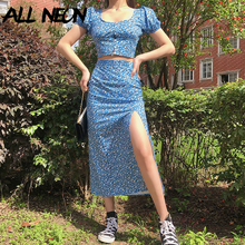 ALLNeon Sweet E-girl Floral Blue Puff Sleeve Crop Tops and Slit Midi Skirts 2 Pi