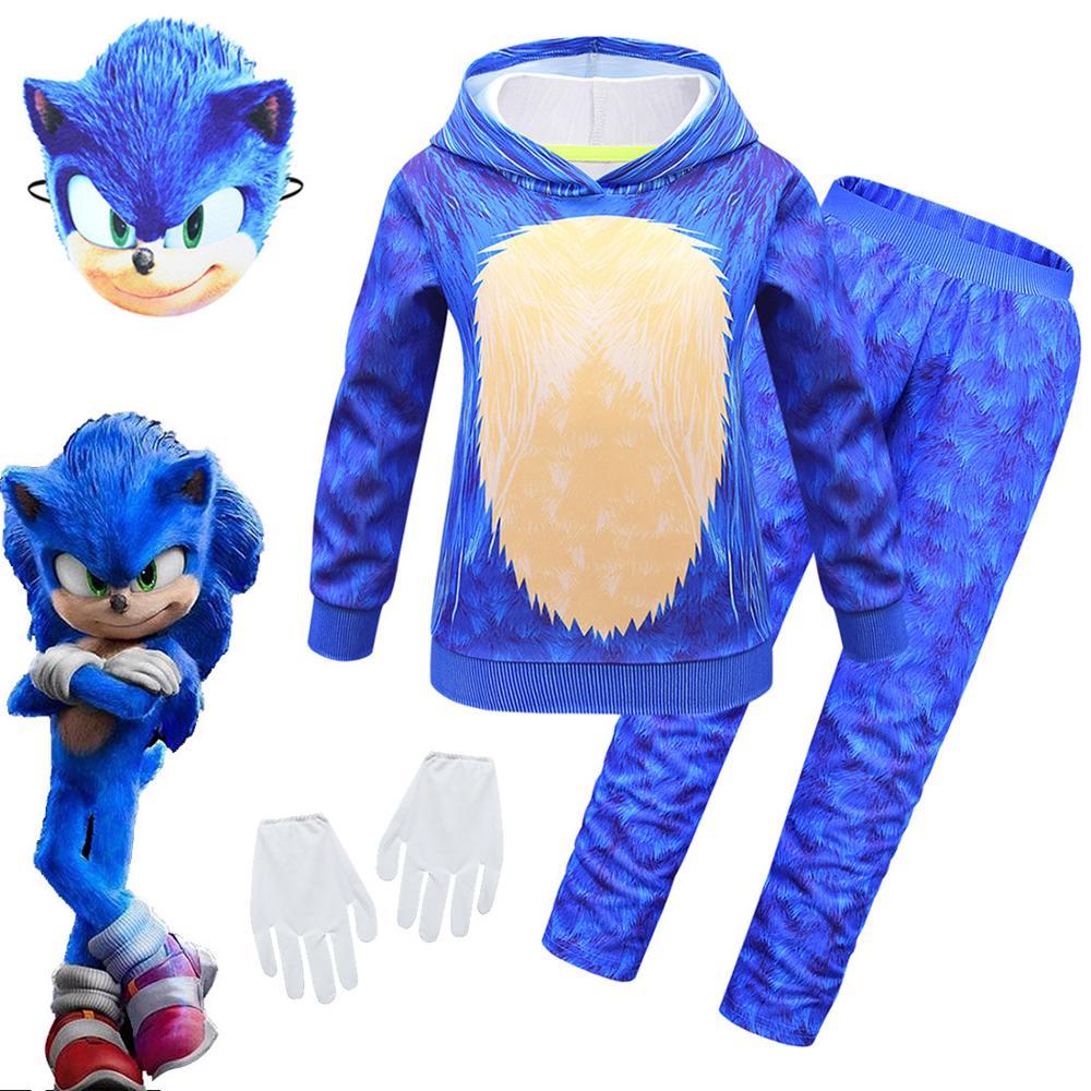 Crianças sonic the hedgehog cosplay traje de halloween meninos meninas roupas com luvas máscara roupas casuais outono e primavera