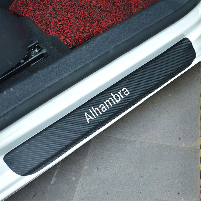 4Pcs Car Door Sill Protector Sticker Carbon Fiber Vinyl Sticker for Seat Alhambra