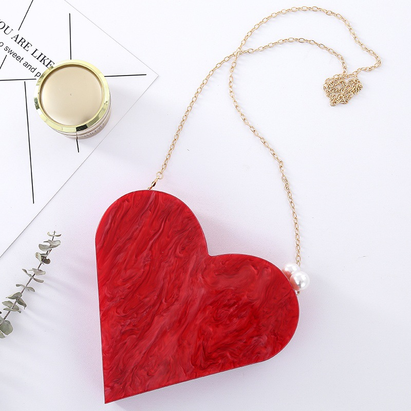Unique Designer Acrylic Clutch Fashion Cute Red Heart Shape Pearl Chain Party Evening Bag Women Shoulder Bags Hot Handbag Purses