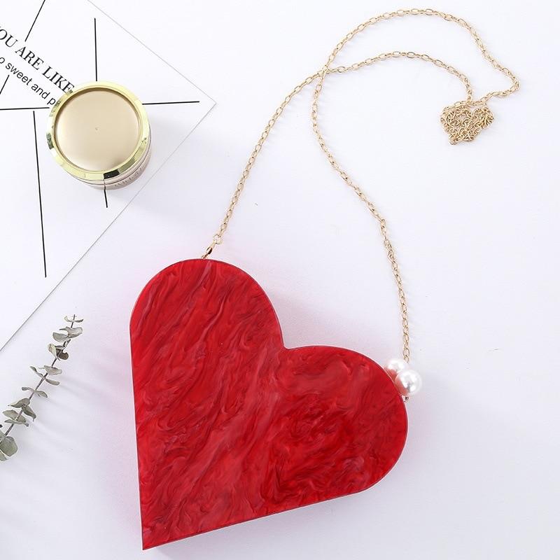 Unique Designer Acrylic Clutch Fashion Cute Red Heart Shape Pearl Chain Party Evening bag Women Shoulder Bags Hot Handbag Purses