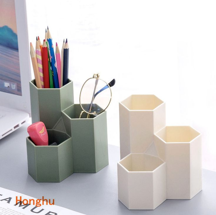 Hexagonal Pen Holder Container Make-up Brush Storage Box Make-up Holder For Lipstick/Pen/Cosmetic Pencil Transparent Black Green
