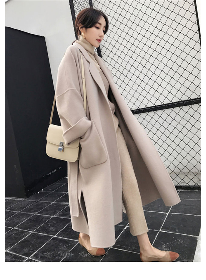 Liva girl Long Coat Winter Coat Women Belted Solid Coat Women's Jacket Women's 5 Colors Coat wool Coat 4