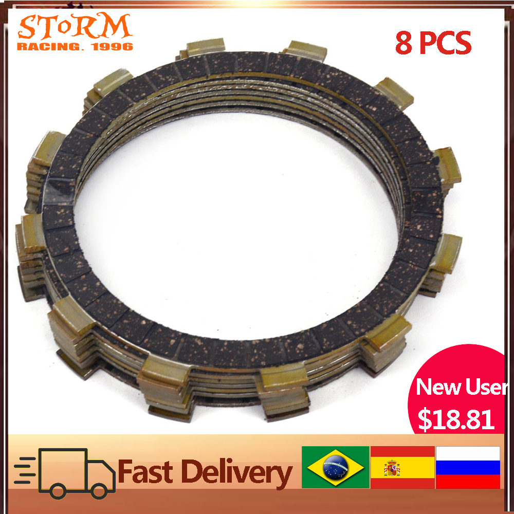 AHL 8pcs Motorcycle Clutch Friction Plates for XL883 XL1200 Sportster 1991-2011