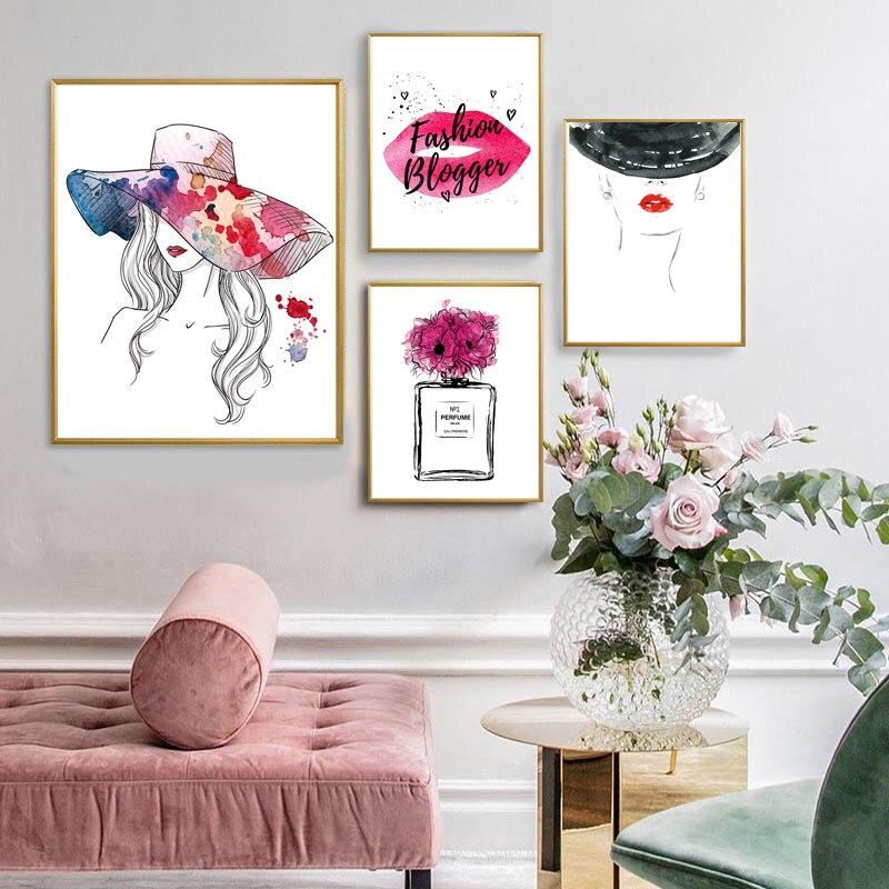 Модный настенный художественный постер «духи», «губ», «макияж», холст, картина, абстрактная шляпа, девушки, картины для современного домашн...