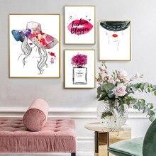 Moda arte da parede cartaz perfume lábios compõem pintura em tela abstrata chapéu menina fotos para sala de estar moderna decoração casa