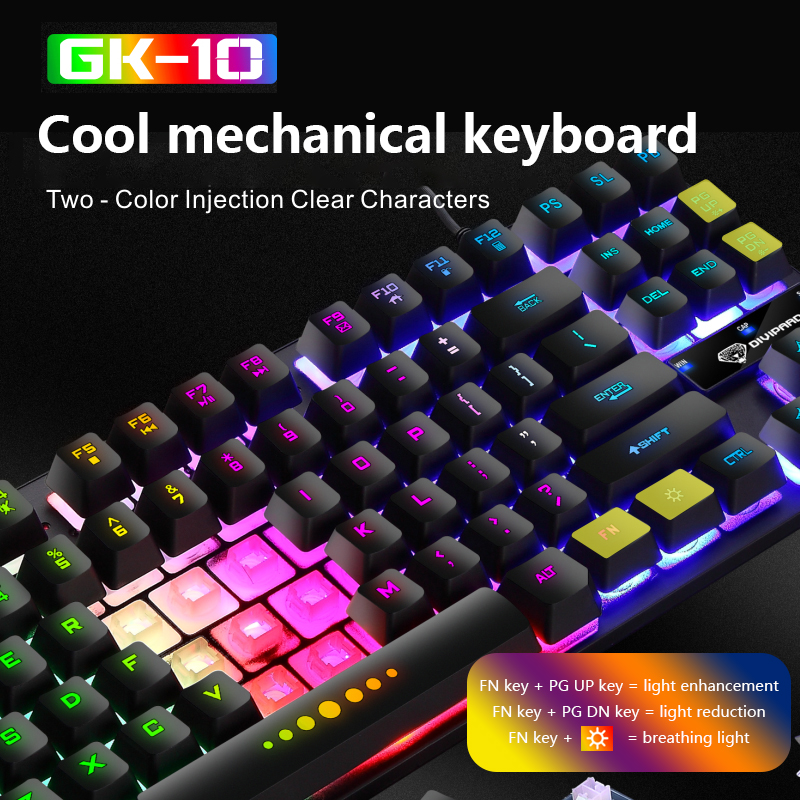 Luminous Wired Gaming Keyboard Mechanical 87-key Keyboards USB Keycaps Keyboard Waterproof Computer Game Teclado Gamer Mecanico