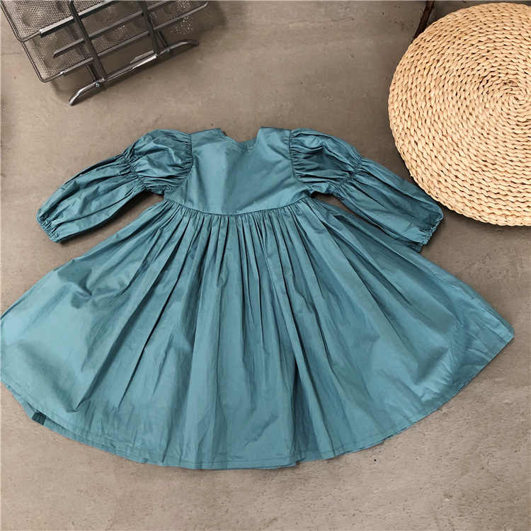 Girls Puff Sleeve Dresses Children Autumn Princess Dresses Kids Fashion Clothing Vintage Pleated Dress Girls Party Wear Costume
