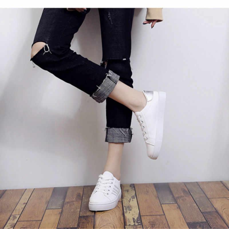 2019 kış ayakkabı kadın ayakkabı yeni kore PU Flats Lace Up beyaz plaka ayakkabı bayan ayakkabı kadın Zapatos De Mujer c12-07