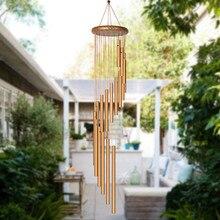 Campanas de viento de madera relajante de 18 tubos, campanas de viento de Metal, adorno artesanal, jardín, Patio, colgante para exteriores, regalo de decoración