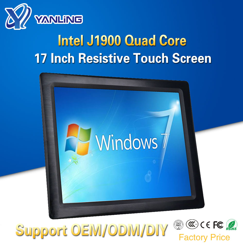 Yanling OEM ODM All-in-one Panel PC Intel J1900 Quad Core 17 Inch Taiwan 5 Wire Resistive Touch Screen Fanless Tablet Computers