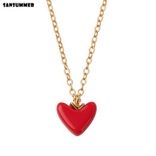 Sansummer 2019 New Hot Fashion Red Heart Simple S925 Silver Japan And Korea Style Romantic Pendant Necklace For Women Jewelry