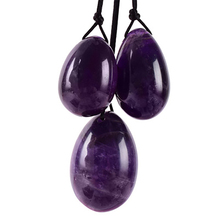 Drilled Natural Amethyst Jade Yoni Egg Set Kegel Jade Eggs Tightening Vaginal Body Yoni Massage Kegel Muscle Exerciser With Box