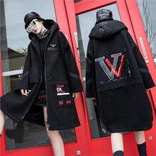 2020 Super Warm Plus velvet trench coat Streetwear hip hop punk hood moda femini