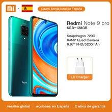 Versión Global Xiaomi Redmi Note 9 Pro 6GB 128GB Smartphone NFC Snapdragon 720G Octa Core 64MP Quad Cámara 6,67