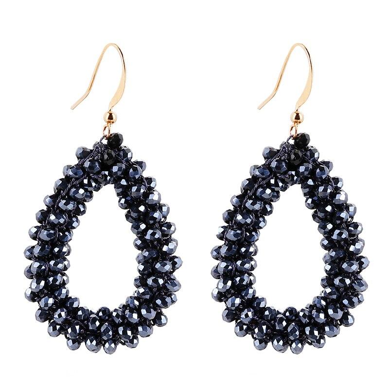 AENSOA 2019 Handmade Teardrop Crystal Beads Earrings for Woman Bohemia Beaded Braid Pendant Earring Big Long Earrings Oorbellen
