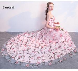 Image 5 - Lanxirui pembe çiçekler elbiseler uzun straplez sevgiliye vestido de formatura longo gece elbisesi parti cadılar bayramı