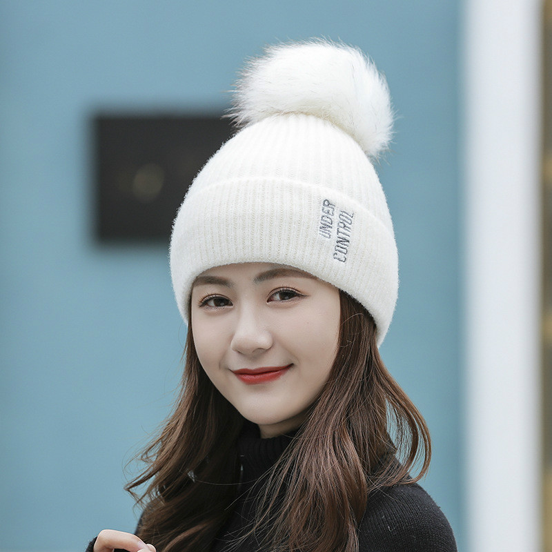 Fashion Winter Women Cycling Warm Knitted Bobble Girl Fur Pompom Hats Pom Pom Letter Embroidery Casual Hat Cap Accessories,1PC