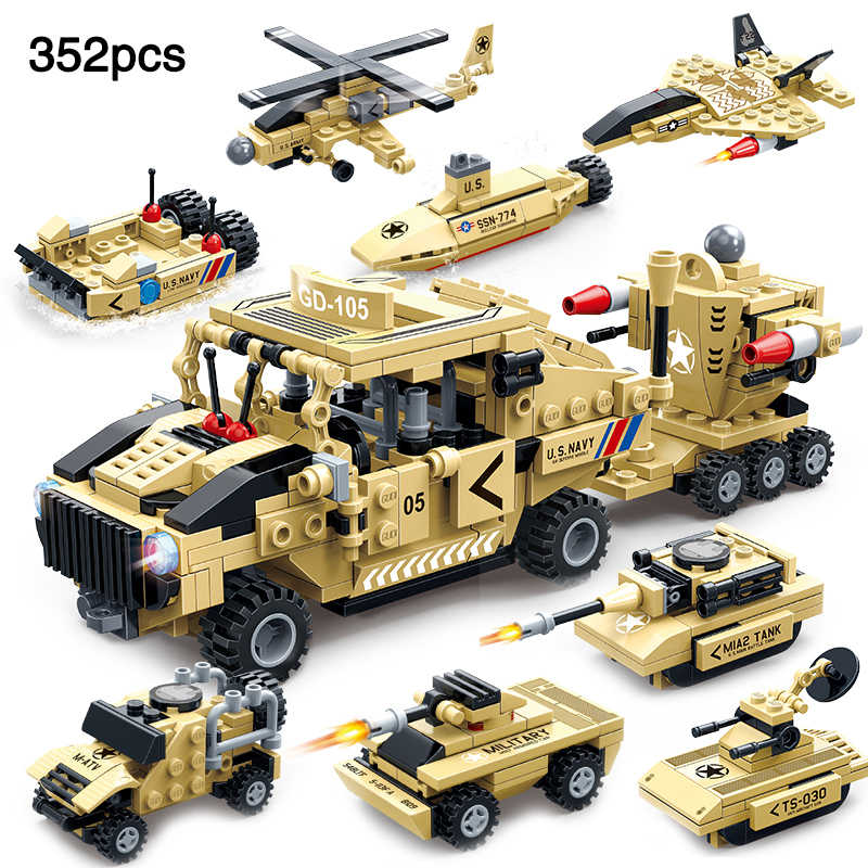 352pcs Mmilitary Series compatible legoingly Army Vehicle Avenger Fight Defense System Building Blocks Kids Toys Gift For Boy