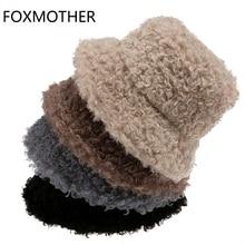 Bucket-Hat Fishing-Cap Panama Bob Fluffy Black Winter Women Lamb New Warm Outdoor Solid