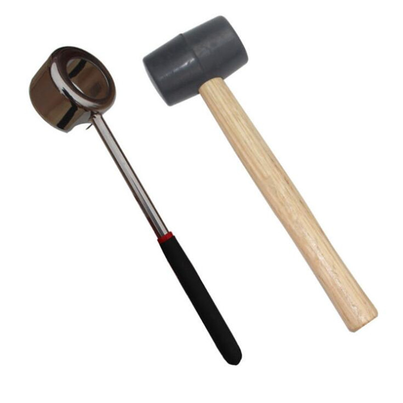 Coconut Opener Set For Young & Mature Coconuts By Coconut Tools For Meat Removal With Hammer & Stainless Steel Knife  Premium