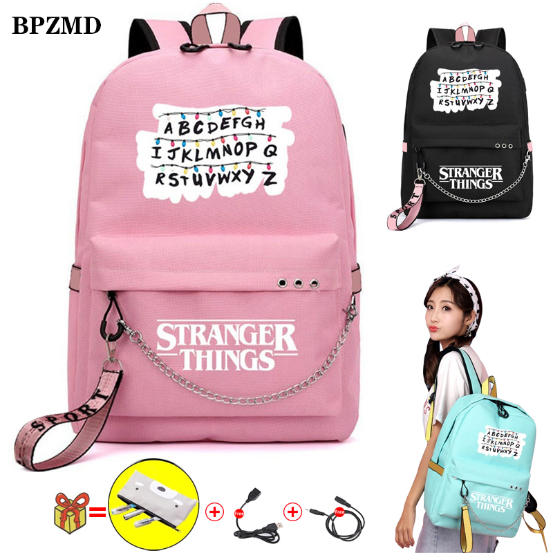 BPZMD Pink Stranger Things Women Backpack For School Teenagers Girls Student Waterproof Canvas Bags Usb Laptop Travel Backpack