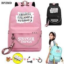 BPZMD الوردي غريب الأشياء النساء على ظهره للمدرسة المراهقين الفتيات طالب للماء حقائب من القماش Usb كمبيوتر محمول حقيبة السفر