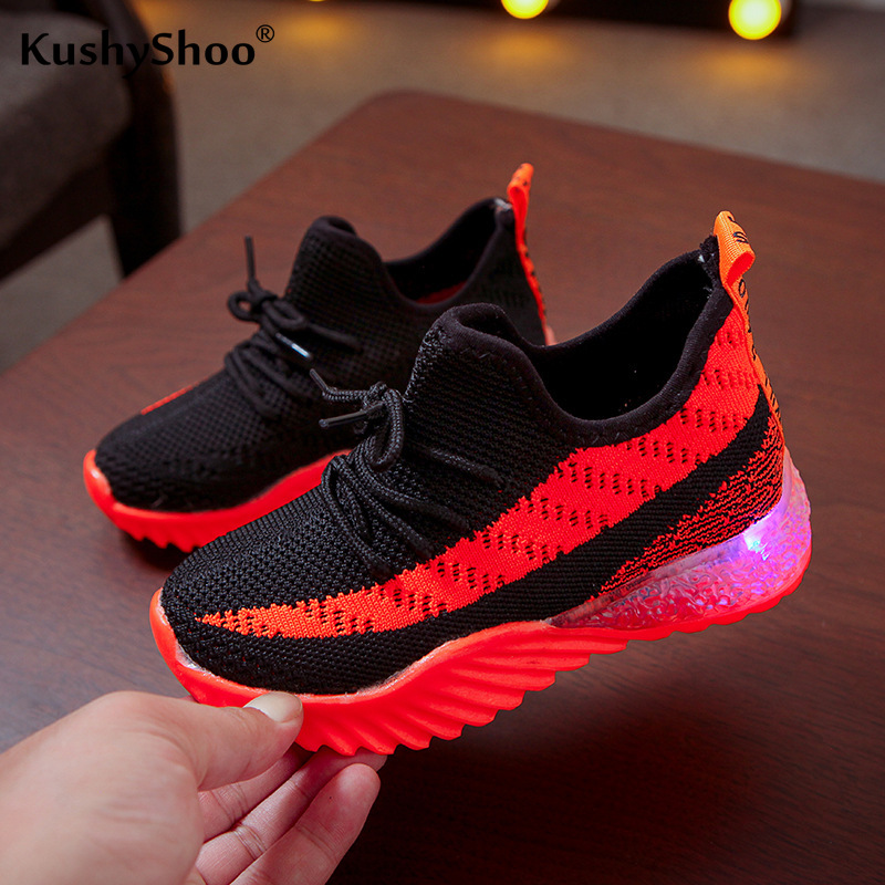 KushyShoo Girls Sneakers With LED Light Sport Shoes Running Shoes Children Shoes Breathable Fly Woven Dad Shoes Girls Sneakers
