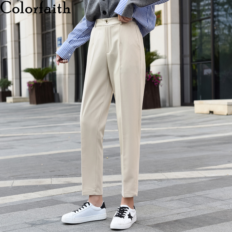 Colorfaith New 2019 Autumn Winter Women Pants High Waist Loose Formal Elegant Office Lady Korean Style Ankle-Length Pants P9065