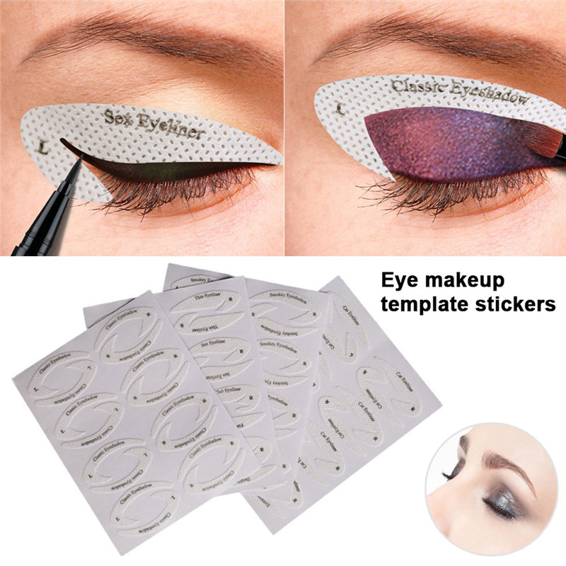 4 Sheets Eye Makeup Stencils Eyeliner Template Shaping Tools Eyebrows Eye Shadow Makeup Template Tool Styling Drawing Guide
