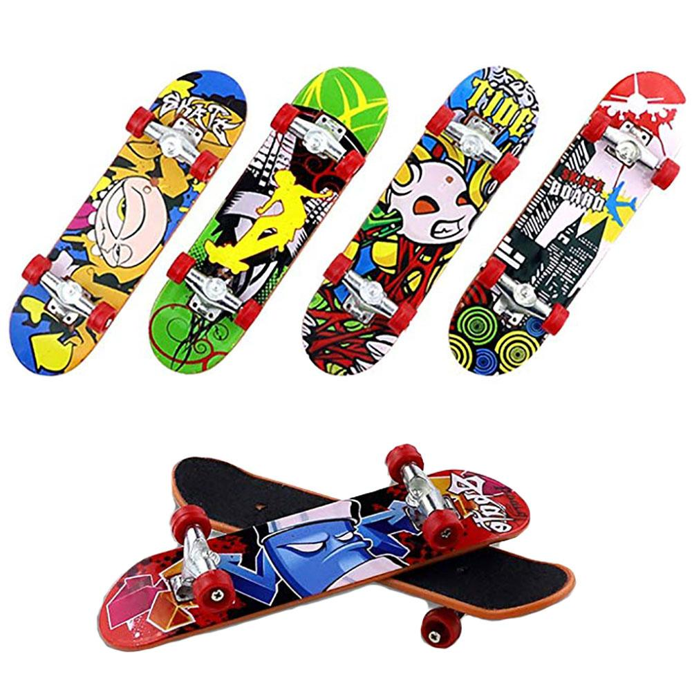 12pcs Alloy Finger Skateboard Toys Kids Children Mini Fingerboard Skateboarding Props New Strange Child Toy Frosted Skateboards