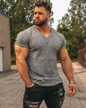 Lauf V Neck Kurzarm T-shirt Männer Fitness Slim Fit Sport Streifen T-shirt Fashion Tees Tops Sommer Gestrickte Gym kleidung