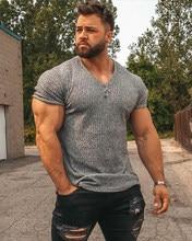 Camiseta de manga corta con cuello de pico para hombre, camiseta ajustada para Fitness, tiras de forma física deporte, camisetas de moda, camisetas tejidas para gimnasio, ropa de verano