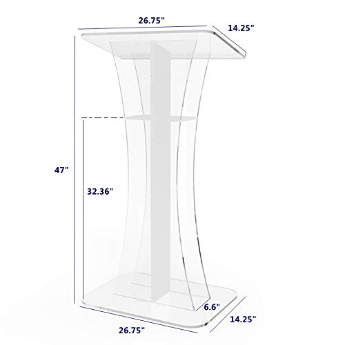 Fixture Displays  Podium Clear Ghost White Cross  Acrylic Podium Clear Lectern Church Pulpit