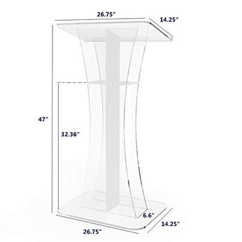 Fixture Displays  Podium Clear Ghost White Cross Acrylic Lectern Church Pulpit