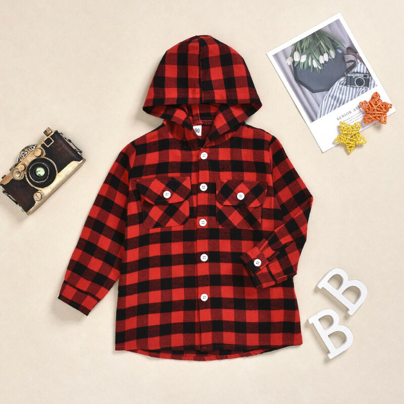 CANIS Autumn Toddler <font><b>Baby</b></font> Kid Boy Girl Clothes Long Sleeve Button Plaid Top Hooded <font><b>Basic</b></font> T-<font><b>Shirt</b></font> Coat 2-7Y image