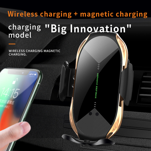 Universal Magnetic Fast Charge Holder for Phones Automatic Clamping Qi Wireless Charger Mount