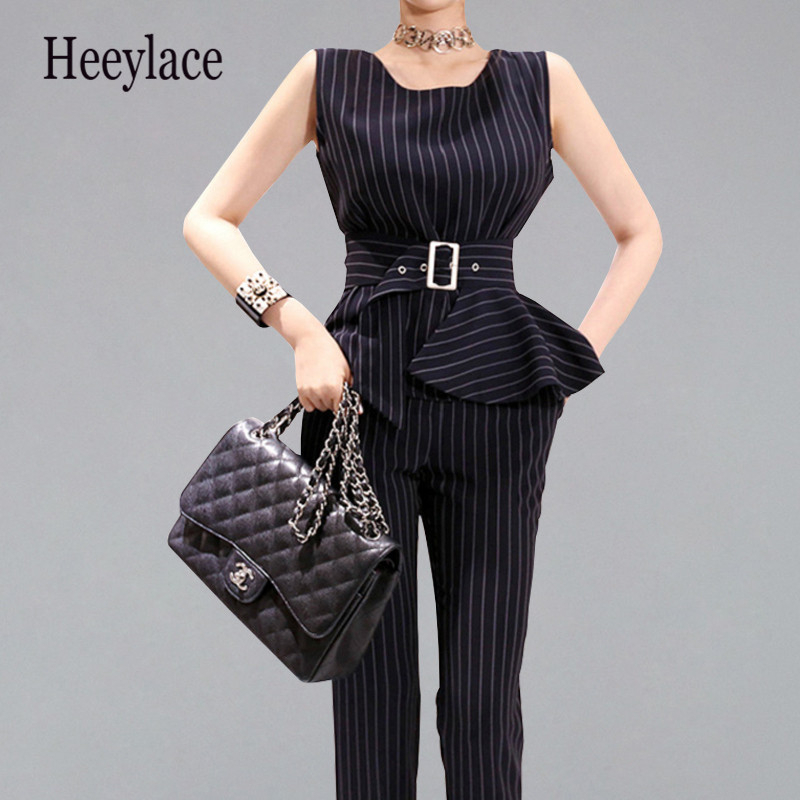 2019 Summer Elegant 2 Pieces Suits Women Striped Ol Office Wear Business Set Belt Tank Blouses And Long Pants Formal