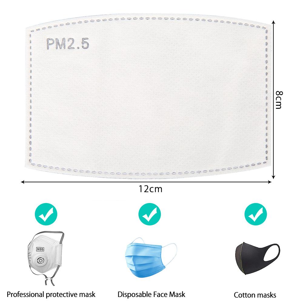 Maska ma wymiary 8 na 12 centymetrów. Pasuje do profesjonalnych i bawełnianych masek.