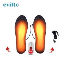 Evilto USB стельки с электрическим подогревом для ног, согревающие подушечки для женщин и мужчин, стельки для обуви с подогревом, для спорта на открытом воздухе, нагреватели, подставки для ног