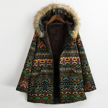 EaseHut 2019 Ethnic Thin Women Autumn Winter Coat Faux Fur Hooded Long Sleeves Pockets Warm Casual Ladies Long Parkas Outwear