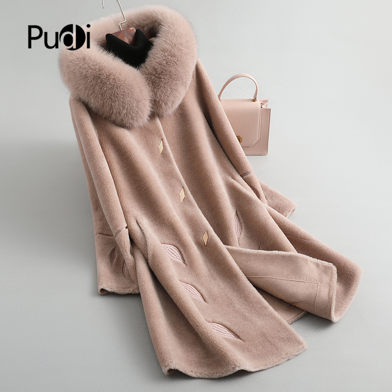 PUDI B404806 Women Winter 100% Real Wool Fur Real Fox Hood Warm Jacket Coat Lady Age Reduction Long Coat Jacket Overcoat