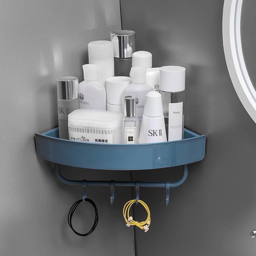 Free Punch Wall Corner Shower Shelf With Hook Bathroom Shelve Shampoo Shower Shelf Holder Kitchen Storage Rack Organizer
